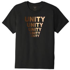 "black unisex crew neck 100% cotton short sleeve graphic t-shirt with ""unity"" printed in five descending rows in a range of skin tones."