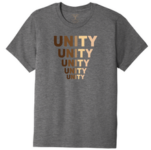 "Load image into Gallery viewer, Heather grey unisex crew neck cotton/poly short sleeve graphic t-shirt with ""unity"" printed in five descending rows in a range of skin tones."