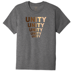 "Heather grey unisex crew neck cotton/poly short sleeve graphic t-shirt with ""unity"" printed in five descending rows in a range of skin tones."
