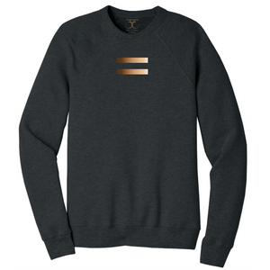 Dark heather grey unisex crew neck cotton/poly long sleeve graphic sweatshirt with equal symbol printed in a gradient of skin tones.