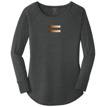 Load image into Gallery viewer, women's long sleeve wide neck tunic style t-shirt in bla ck frost with equal symbol printed in a gradient of skin tones. 50/25/25 poly/combed ring spun cotton/rayon blend