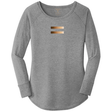 Load image into Gallery viewer, women's long sleeve wide neck tunic style t-shirt in grey frost with equal symbol printed in a gradient of skin tones. 50/25/25 poly/combed ring spun cotton/rayon blend