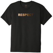 "Load image into Gallery viewer, black unisex crew neck 100% cotton short sleeve graphic t-shirt with ""respect"" printed in gradient of skin tones."