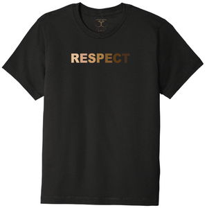 "black unisex crew neck 100% cotton short sleeve graphic t-shirt with ""respect"" printed in gradient of skin tones."