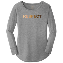 "Load image into Gallery viewer, women's long sleeve wide neck tunic style t-shirt in grey frost with ""respect"" printed in a range of skin tones. 50/25/25 poly/combed ring spun cotton/rayon blend"