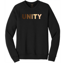 "Load image into Gallery viewer, Black unisex crew neck cotton/poly long sleeve graphic sweatshirt with ""unity"" printed in a range of skin tones."