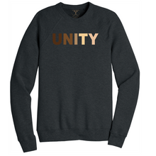 "Load image into Gallery viewer, Dark heather grey unisex crew neck cotton/poly long sleeve graphic sweatshirt with ""unity"" printed in a range of skin tones."
