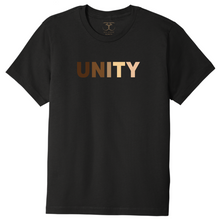 "Load image into Gallery viewer, black unisex crew neck 100% cotton short sleeve graphic t-shirt with ""unity"" printed in a range of skin tones."