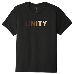 "black unisex crew neck 100% cotton short sleeve graphic t-shirt with ""unity"" printed in a range of skin tones."