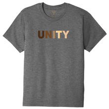 "Load image into Gallery viewer, heather grey unisex crew neck cotton/poly short sleeve graphic t-shirt with ""Unity"" printed in range of skin tones."