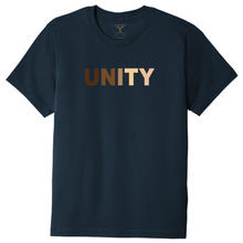 "Load image into Gallery viewer, navy unisex crew neck 100% cotton short sleeve graphic t-shirt with ""unity"" printed in a range of skin tones."