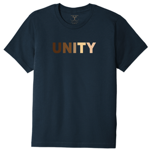"navy unisex crew neck 100% cotton short sleeve graphic t-shirt with ""unity"" printed in a range of skin tones."