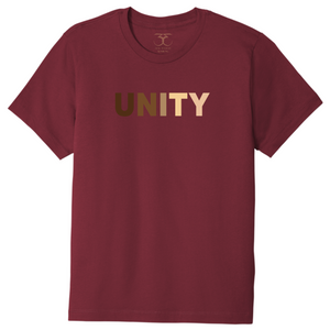 "Currant red unisex crew neck 100% cotton short sleeve graphic t-shirt with ""unity"" printed in a range of skin tones."