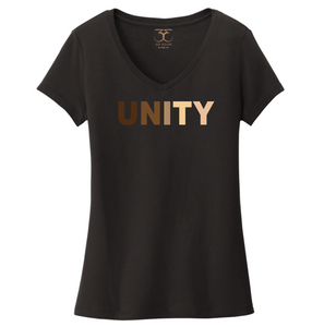 "black women's v-neck 100% cotton short sleeve graphic t-shirt with ""unity"" printed in a range of skin tones."