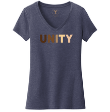 "Load image into Gallery viewer, heathered navy women's v-neck cotton/poly short sleeve graphic t-shirt with ""unity"" printed in a range of skin tones."