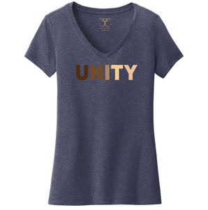 "heathered navy women's v-neck cotton/poly short sleeve graphic t-shirt with ""unity"" printed in a range of skin tones."