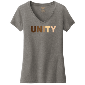 "heather grey women's v-neck cotton/poly short sleeve graphic t-shirt with ""unity"" printed in a range of skin tones."