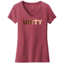"Load image into Gallery viewer, heathered cardinal red women's v-neck cotton/poly short sleeve graphic t-shirt with ""unity"" printed in a range of skin tones."