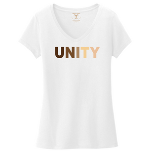 "white women's v-neck 100% cotton short sleeve graphic t-shirt with ""unity"" printed in a range of skin tones."
