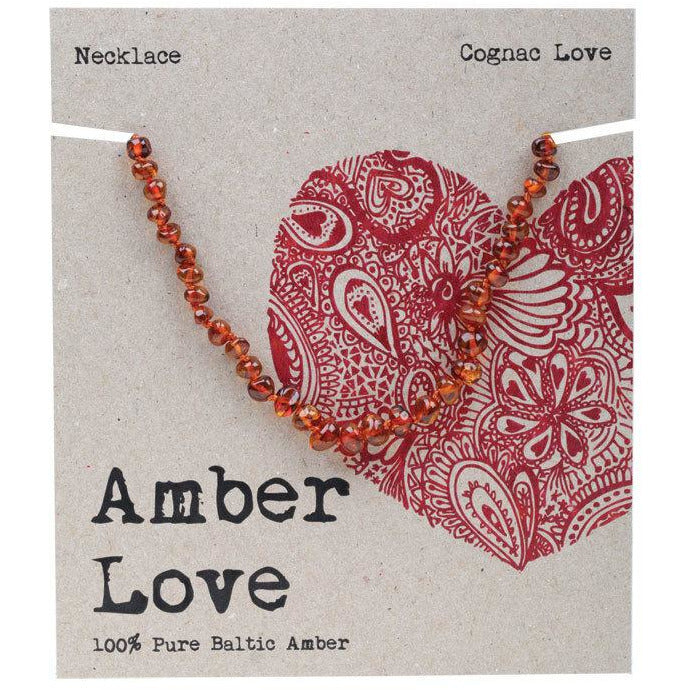 Amber Love Children's Necklace 100% Baltic Amber Cognac Love