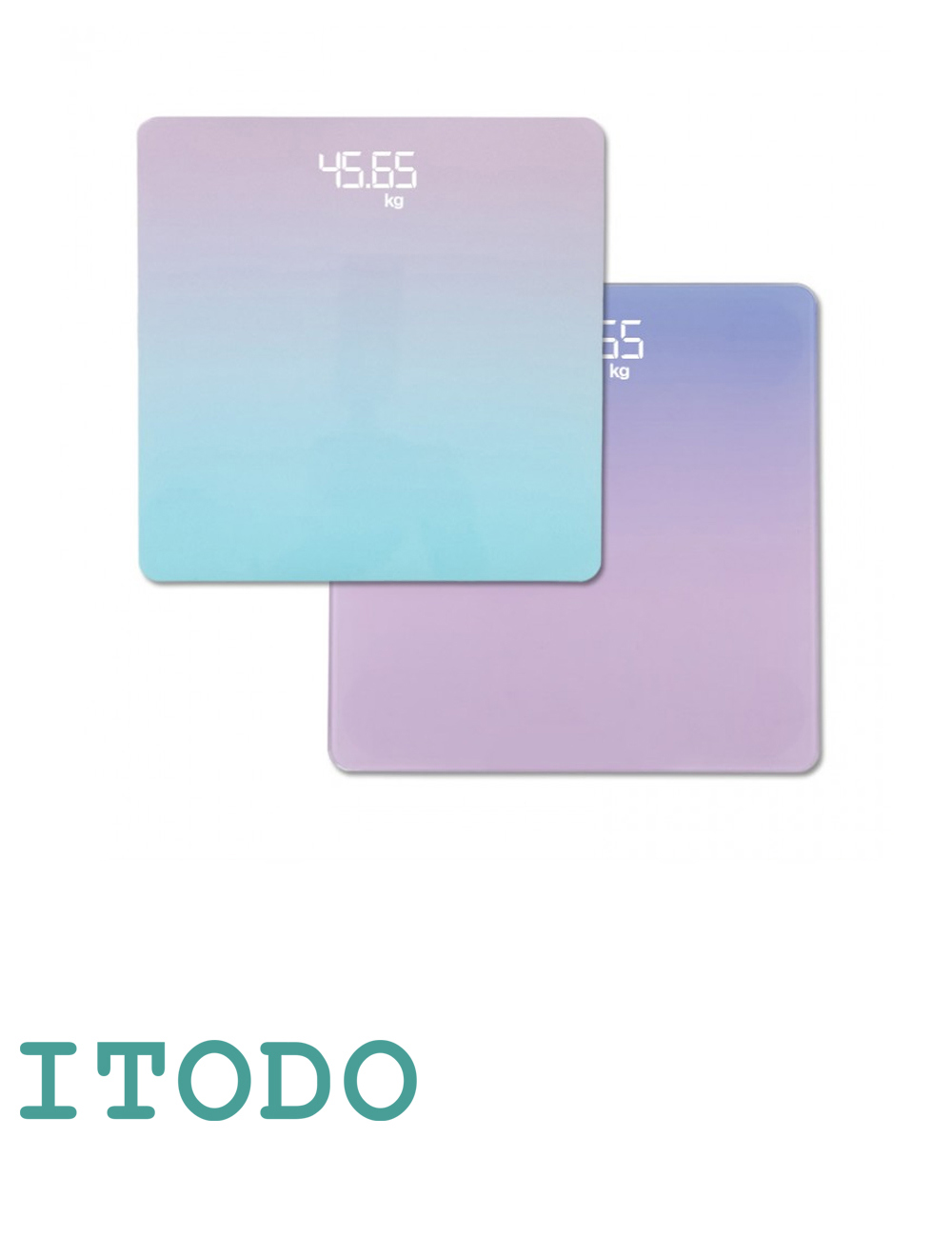 Itodo Room Temperature Thermometer and Weight Measurement Pastel LED Scale d1