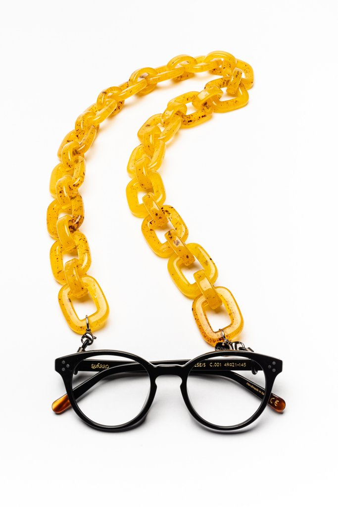 Glasses & Mask Chain Baci in Golden Amber