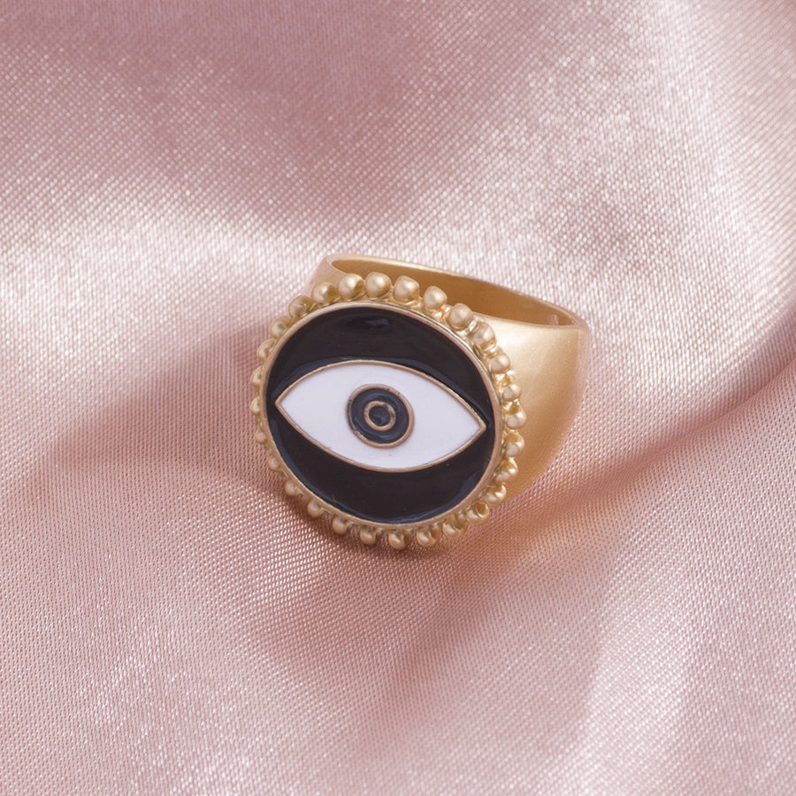 Vintage Matte Gold Eye Ring
