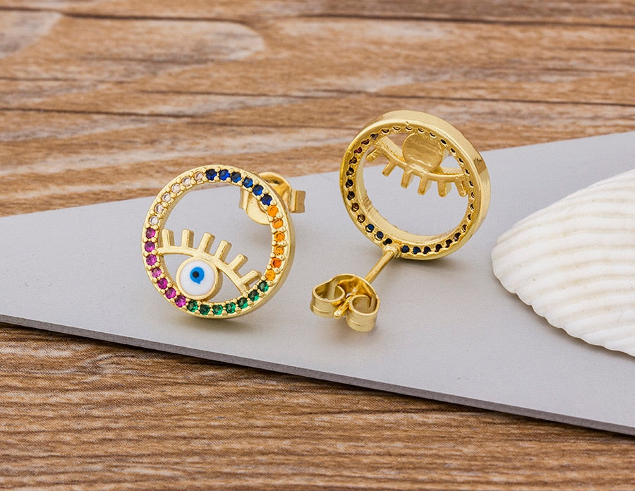 Mini Evil Eye 14kt Gold Plated Studs