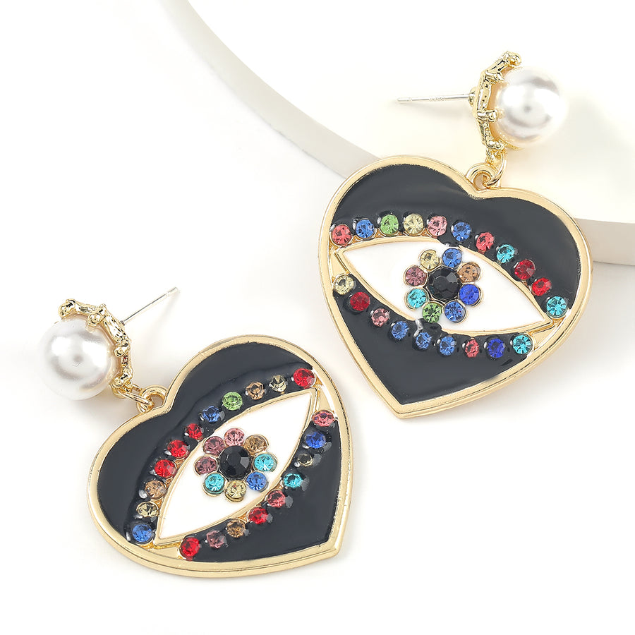 Multi Stone Eye in Heart Earrings