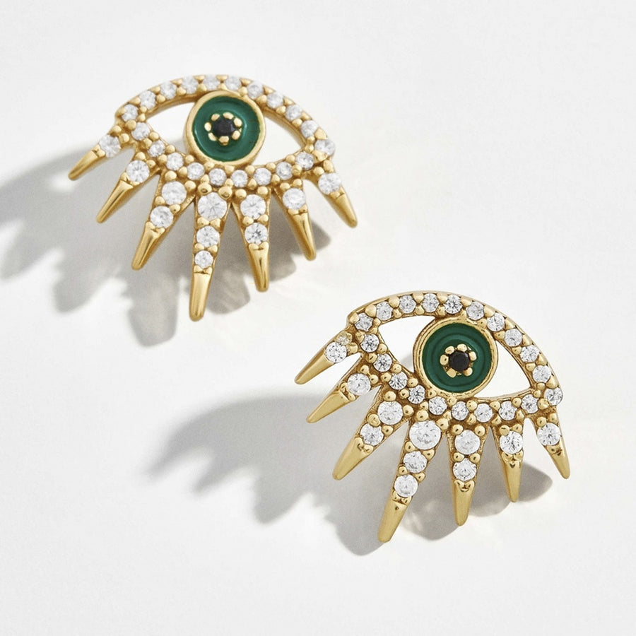 Oversized Green Eye Gold Lashes Studs