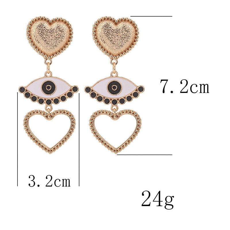 Heart Eye Coin Drop Earrings