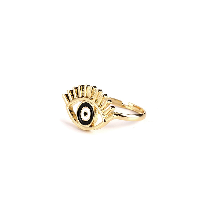 Adjustable Gold Eye Ring