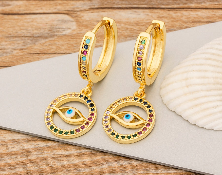Eye Hoop Drop Earrings