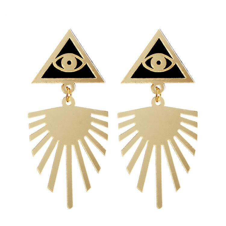 Acrylic Gold Eye Earrings