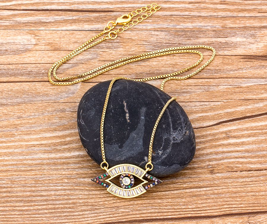 Cubic Zircon Long Eye Necklace