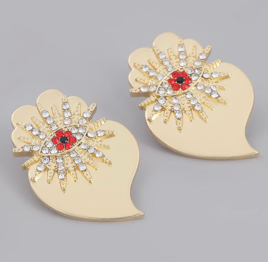 Starry Eye Heart Stud Earrings