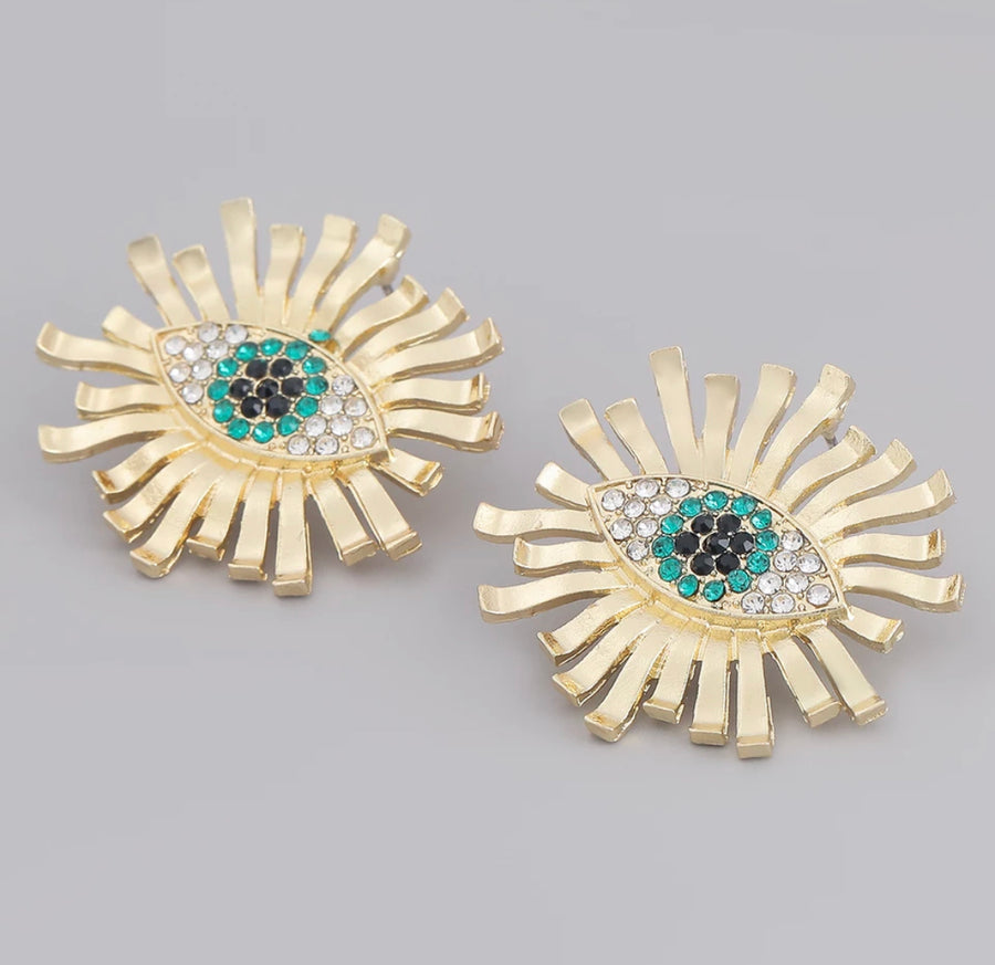 Oversized Gold Flower Eye Earrings