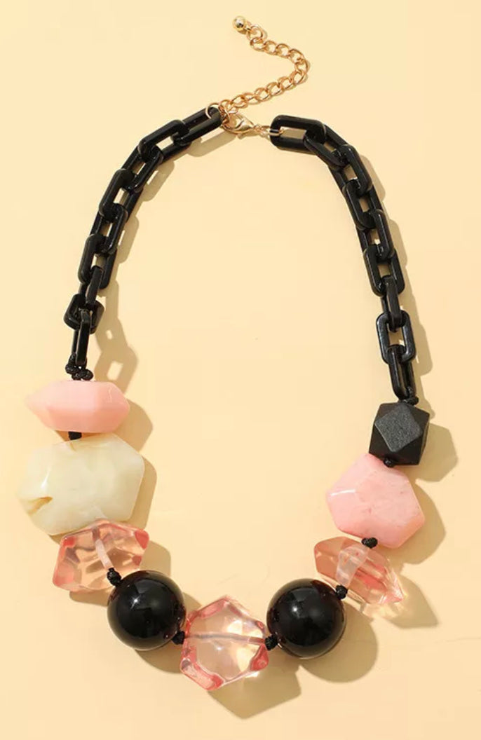 Acrylic Link Statement Necklace