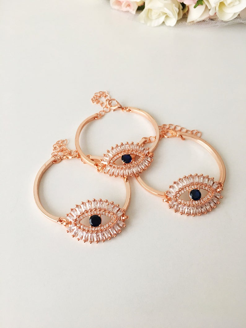 Rose Gold Eye Baguette Bracelet