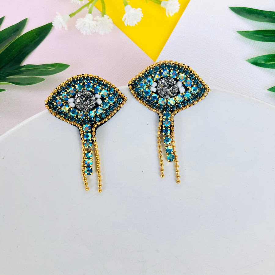 Evil Eye Stud Drop Earrings