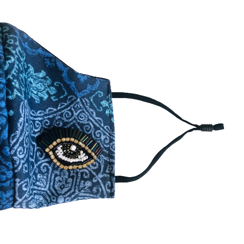 Printed Fabric with Rhine Stone Eye Face Mask