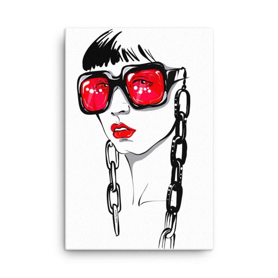 Sunglasses with Chain Canvas Wall Art
