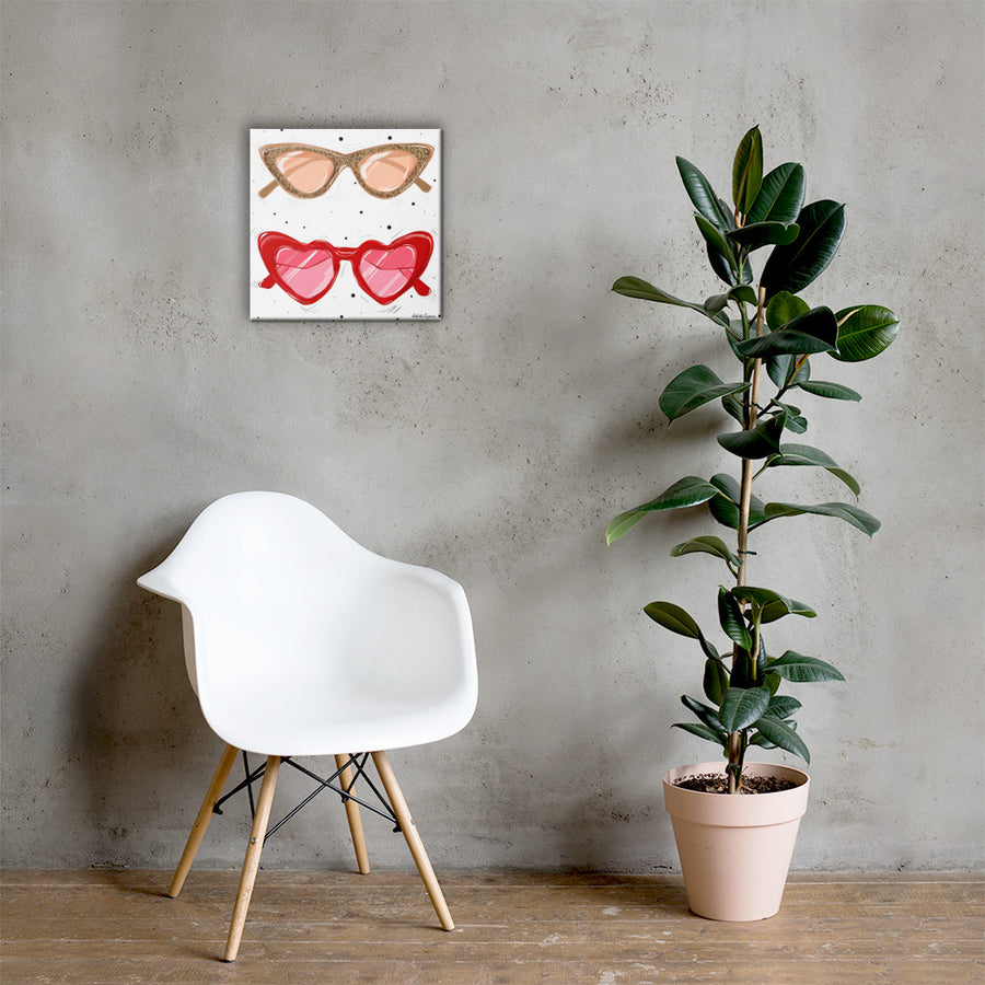 Leopard Print & Red Heart Sunglasses Canvas Art 16