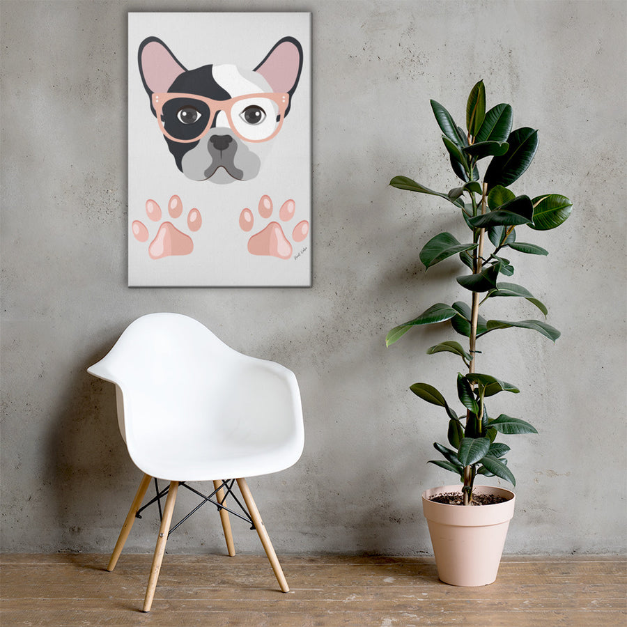 Dog with Glasses Canvas Art