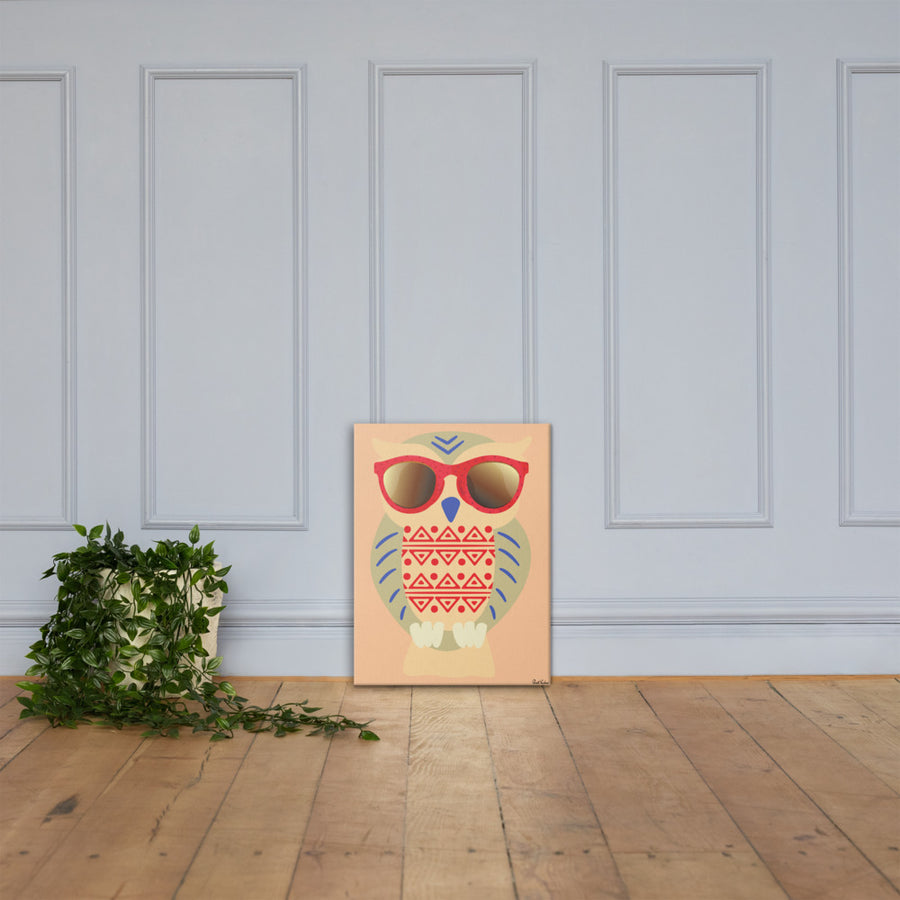 Owl with Sunglasses Canvas Print