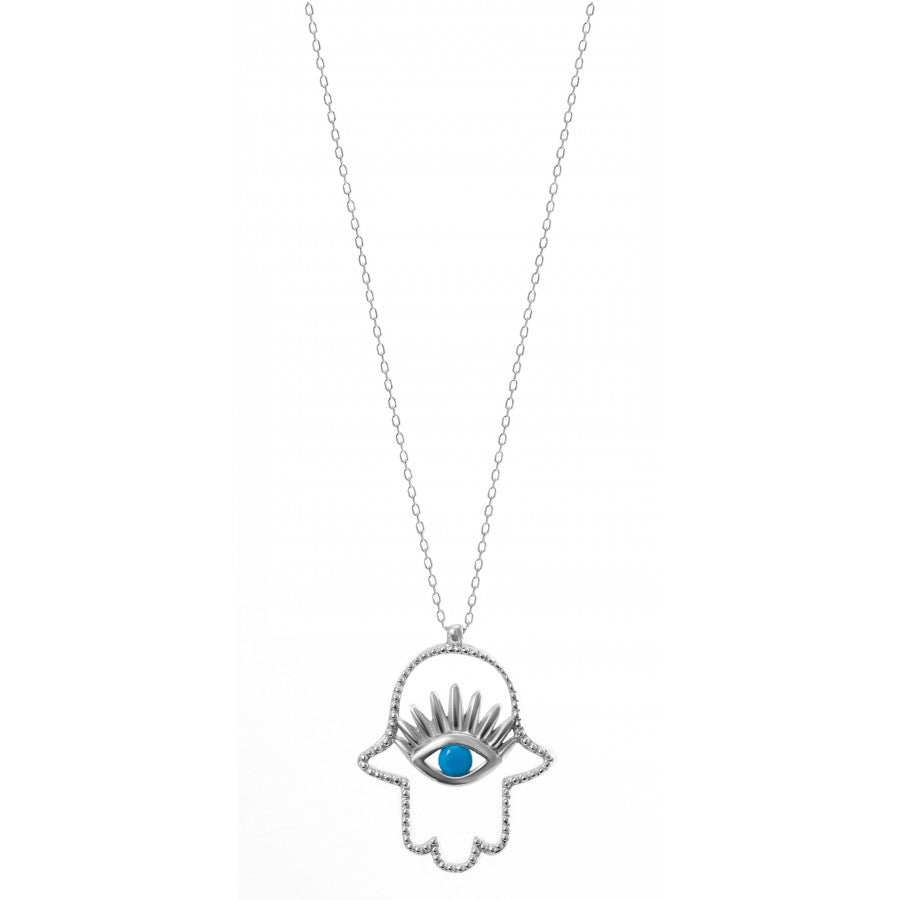 Sterling Silver Hamsa Necklace with Turquoise Stone