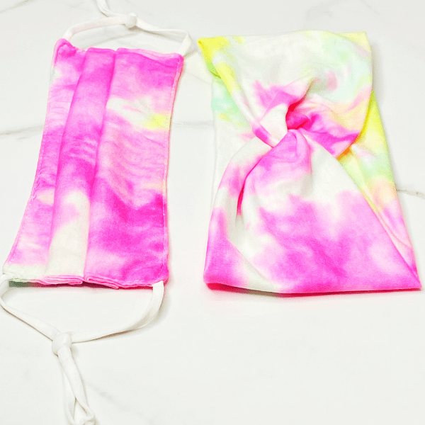 Tie Dye Pattern Face Mask And Headband