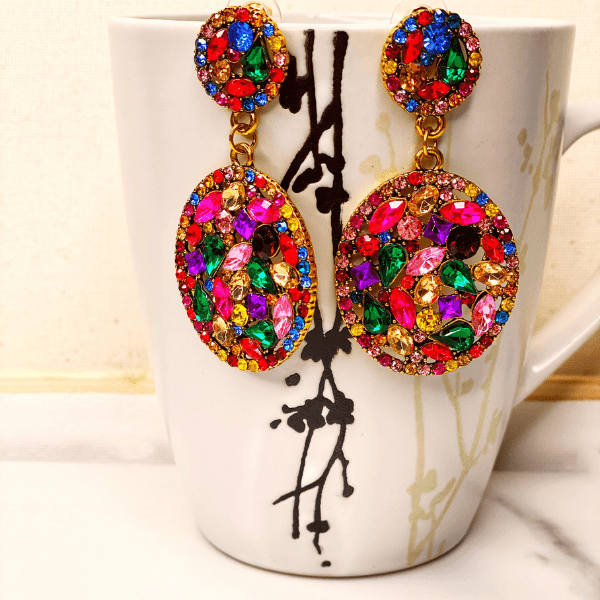 Picasso Rhinestone Raindrop Earrings