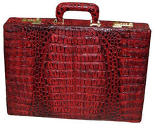 Load image into Gallery viewer, David Eden Hornback Crocodile Case Black Cherry