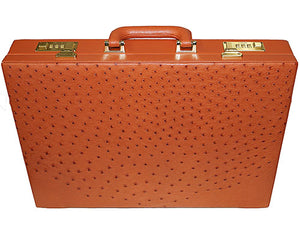 Los Altos Ostrich Attache Case Cognac